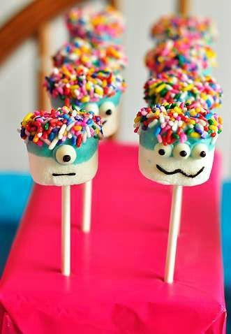 Monster birthday party marshmallow pops! See more party planning ideas at CatchMyParty.com!
