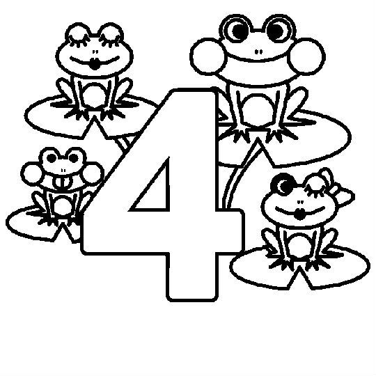 Animal Numbers Four Frog