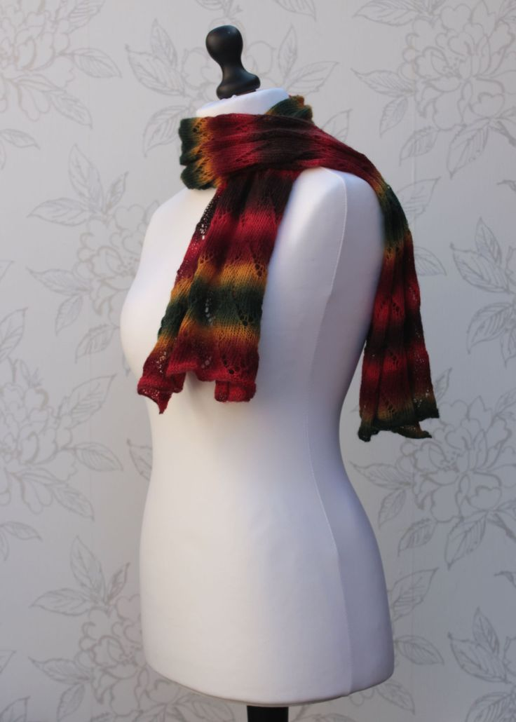 Chevron Lace Scarf, Striped Lace Scarf, Fine Hand Knit Lace Stole, Zig zag Pattern Wide Scarf, Autumn Colored Lace Scarf - pinned by pin4etsy.com