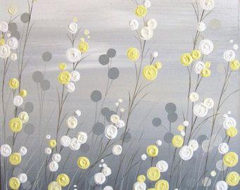 Mustard Yellow and Gray Abstract Flower Art von MurrayDesignShop