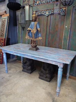 Balinese Rustic Antique Recycled Timber Wooden Large Dining Table Hand Carved
