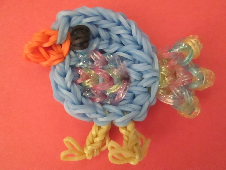 Rainbow Loom BABY BIRD. Designed and loomed by Jaclyn Lecaros of Lovely Lovebird Designs. Click on photo for YouTube tutorial. 03/16/14