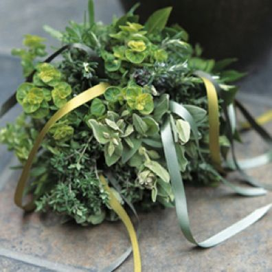 A bouquet of herbs- what an awesome idea! (And delicious in the months to come after the wedding...)