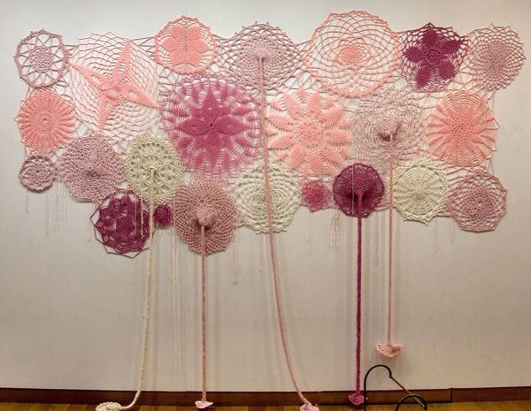 'Le Ciel est rose' by Cecile Dachary laine acrylique, 250 cm X 180 cm  2012