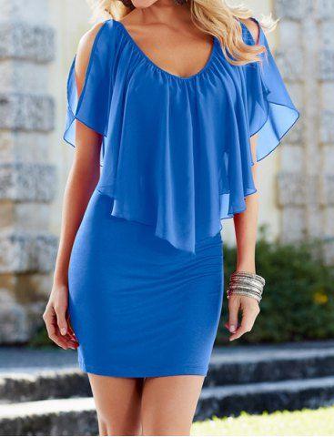 Stylish V-Neck Off-The-Shoulder Solid Color Flounce Chiffon Dress For Women Chiffon Dresses   RoseGal.com