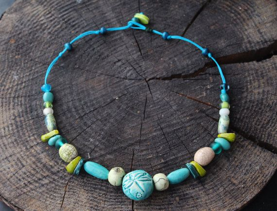 Ceramic Beads Turquoise Dragonfly Necklace от CeramicTale на Etsy