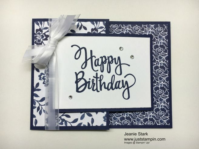 Happy Birthday Joy Fold Card using Stampin' Up! Floral Boutique Designer Series Paper and Stylized Birthday Stamp. www.juststampin.com