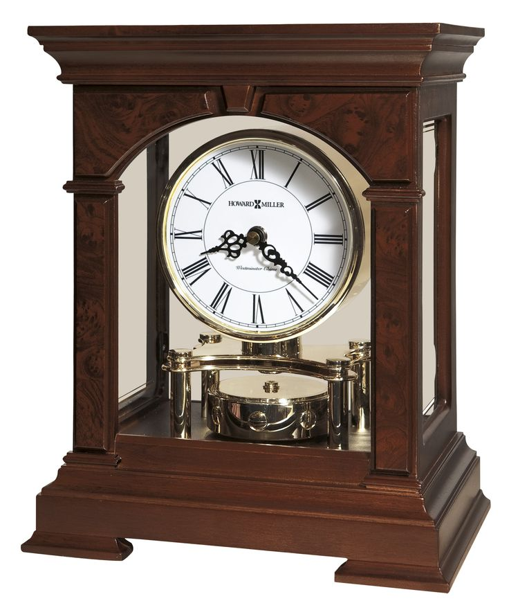 Statesboro Mantel Clock. This contemporary mantel clock will shine in any room. This handsome mantel clock, finished in Cherry Bordeaux on select hardwoods and veneers. Quartz, battery-operated movement plays Westminster chimes on the hour and features volume control. Requires two AA and two C sized batteries.