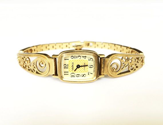 Watches. Womens watchs Gold vintage watch. Soviet by MyTinyTree