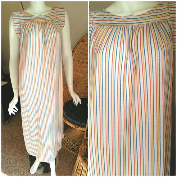 70's Striped Nightgown by Annie 70's Petite by CharmstruckVintage
