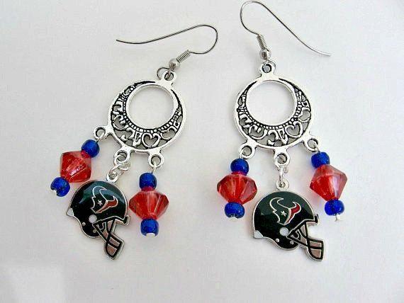 Houston Texans Chandelier Football Earrings/Houston Texans Jewelry/Houston Texans Accessories/Houston Texans Clothing/Football Charms