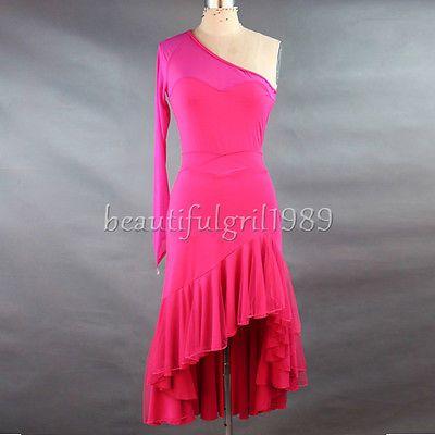 Latin-salsa-tango-rumba-Cha-cha-Ballroom-Dance-Dress-top-skirt-FM126-Hot-pink