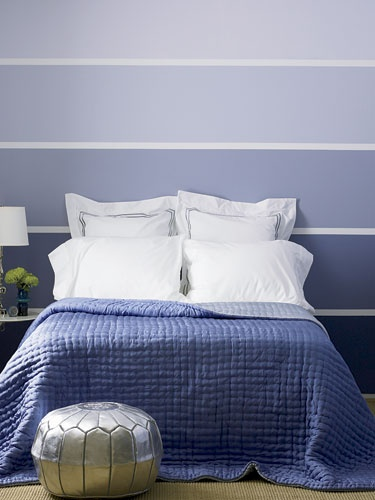 Paint Chip Stripe Room - Good way to add interest to a focal wall!