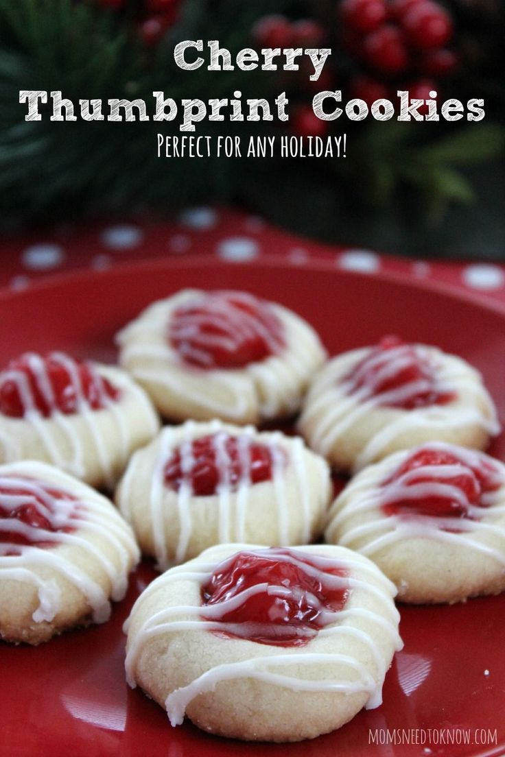 These cherry thumbprint cookies are so easy to make and perfect for your Christmas cookie tray!  You can even customize them by swapping out the filling for another flavor!