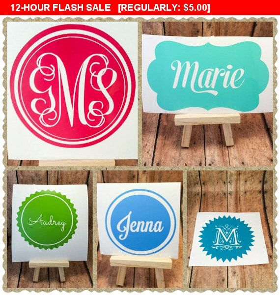"Vinyl name decal, 3"" Monogram decal, sticker, personalized decal, laptop, car, cell phone, tablet decal, personalized sticker, custom decal"