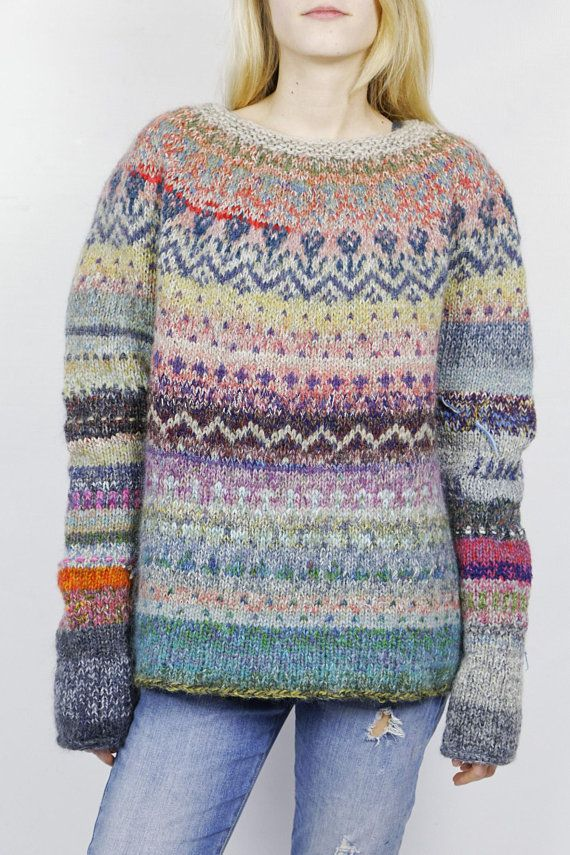 Hand Knitted Icelandic Style Sweater Yarn Hand Knitted Sweaters
