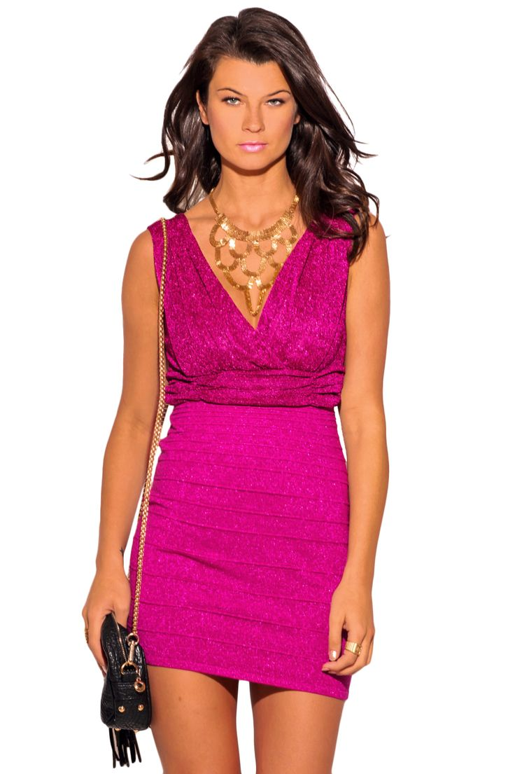 Bandage bodycon dresses 0 celebrities 1639 get lucky extra 50 0 - Cosmopolitan Hot Pink Metallic Bandage Bodycon Fitted V Neck Cocktail Party Mini Dress 1015store