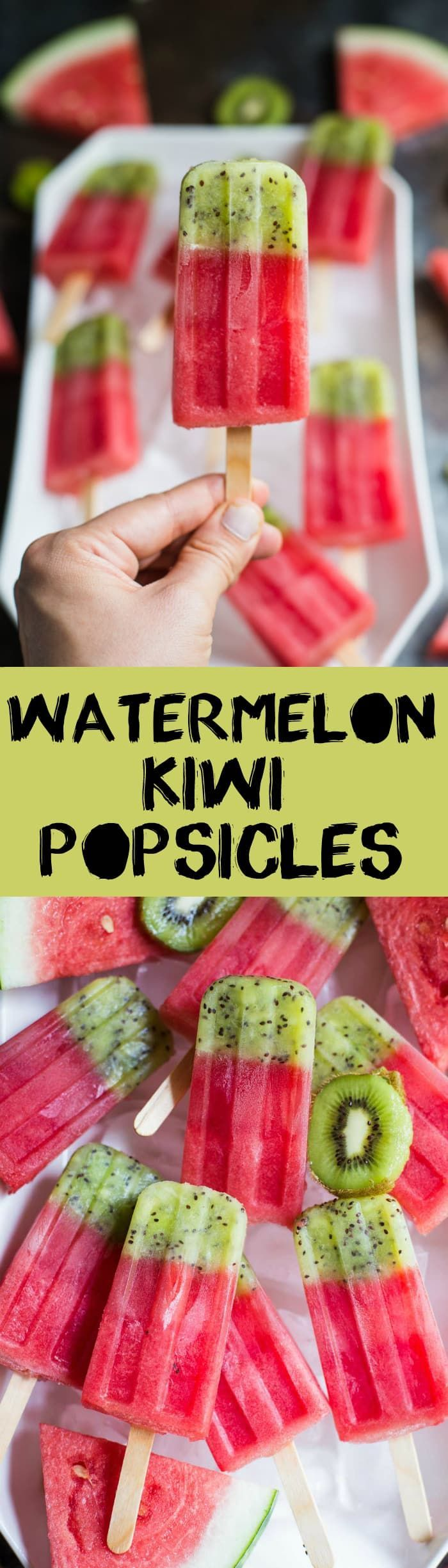 These Kiwi Watermelon Fruit Popsicles are made of 100% pure fruit and are perfect for the hot days of summer. Kids will especially love these! Vegan, healthy. sugar free popsicle / healthy dessert / summer dessert