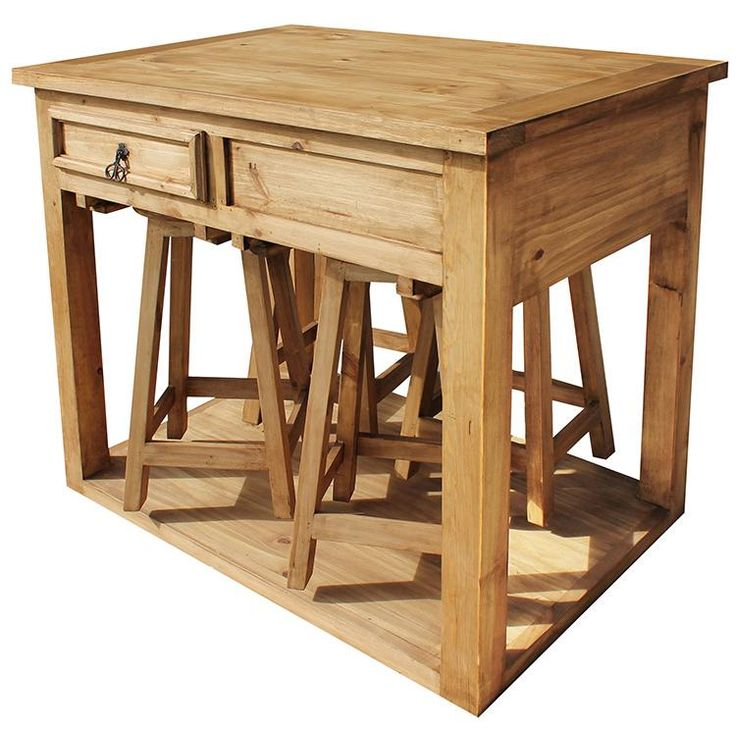 Superior Rustic Pine Collection   Kitchen Island W/ Stools