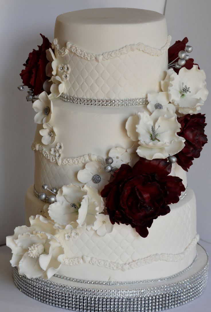 Marsala wedding cake with peonies, red, wine red, maroon