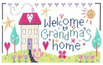 """Grandma's Home(CSKGH184)  Cross stitch sampler kit designed by The Stitching Shed. Simple design so may be suitable for beginners depending on their ability. Perfect to stitch as a gift for a special Grandma.  Contents: 14 count aida fabric, anchor threads, chart and full instructions.  Size: 8.5"""" x 5"""".  *Usually dispatched within 5 working days*"""