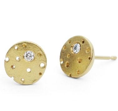 18ct gold and diamond earrings by Kate Smith