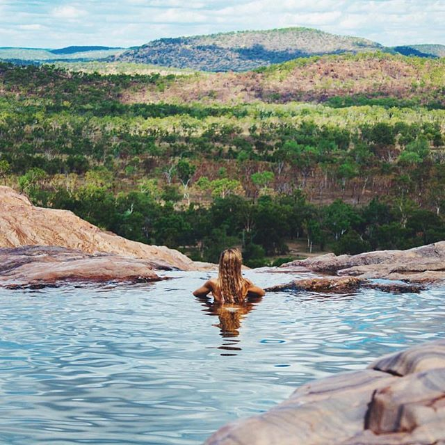 Darwin - There's really no place you'd rather be than Gunlom Falls, Kakadu National Park. After a day of exploring #Kakadu, swim to infinity in the natural plunge pool.