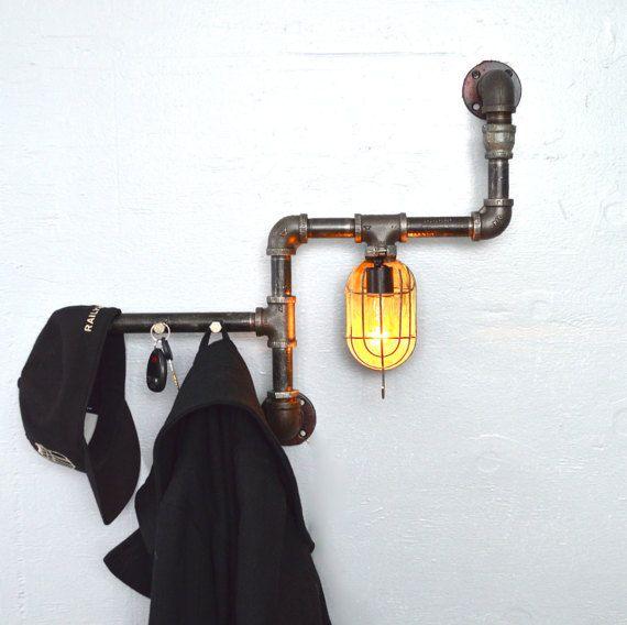 Unique Pipe & Cage Light Fixture W/ Hooks. Reclaimed