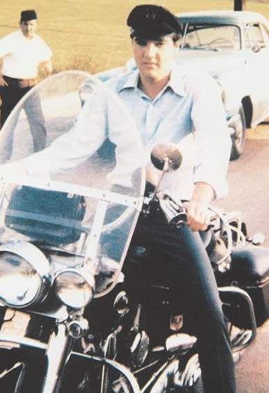 Elvis on a bike ride in Memphis summer 1962.