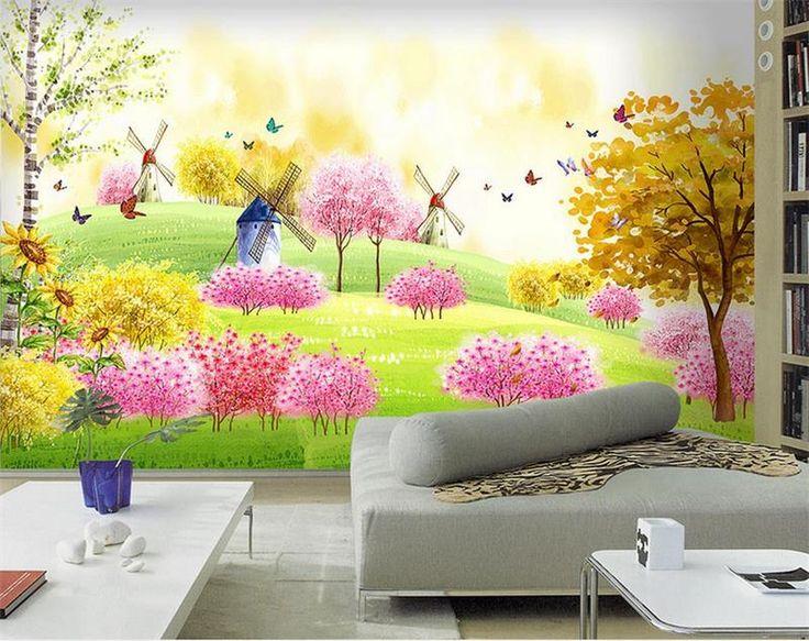 3d room wallpaper custom murals photo lovely dream pink park painting for kids TV sofa background wallpaper for walls 3d #Affiliate