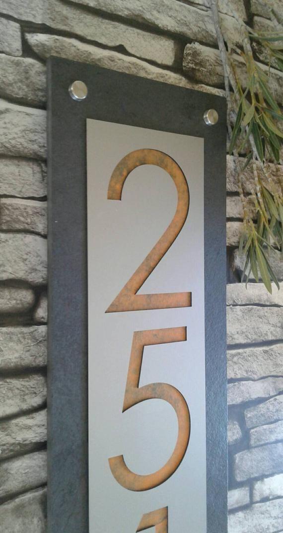 Address Plaque Modern House Numbers Custom Mid Century Cherry In 2020 Modern House Number Mid Century Modern House Mid Century Modern Exterior