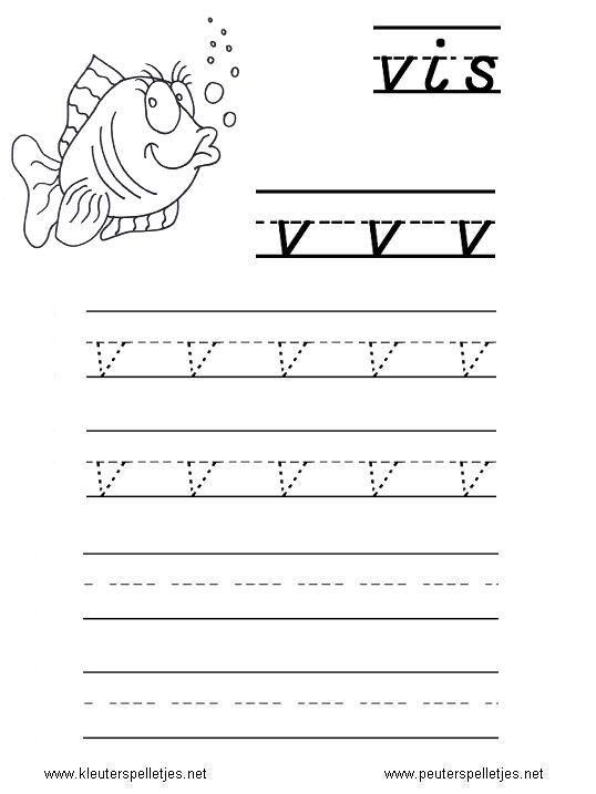 LETTER V | letters leren herkennen en schrijven, alfabet printbladen a t/m z