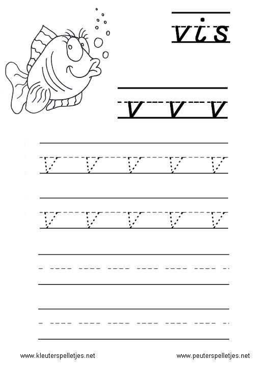 LETTER V   letters leren herkennen en schrijven, alfabet printbladen a t/m z