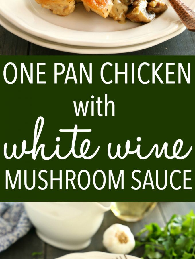 This One Pan Chicken with White Wine and Mushroom Sauce is a super delicious restaurant-quality main dish that's so easy to make in only one pan! Recipe from thebusybaker.ca! #easychickenrecipe #chickenwhitewinemushroomsauce #whitewinesauce #easychickensauce