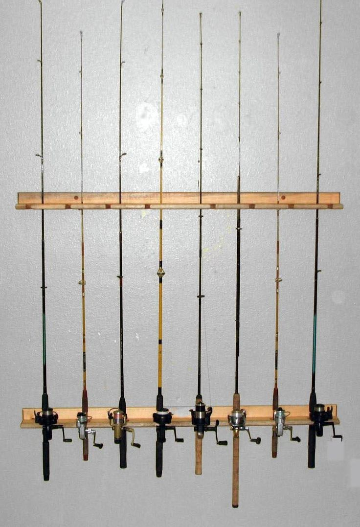 fishing rod storage rack holds 8 ceiling or vertical on wall