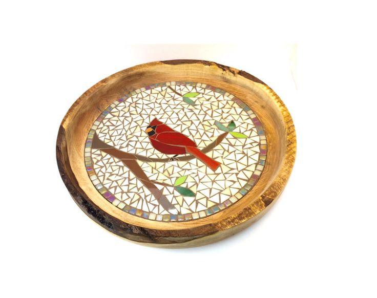 Beautiful Mosaic Cardinal Live Edge Bowl by HespelerHomestead on Etsy