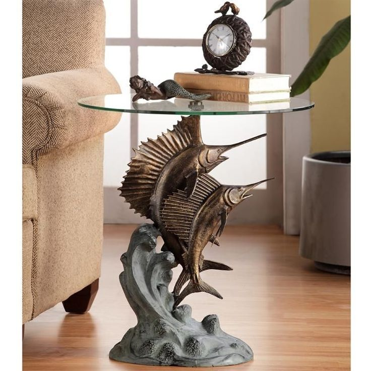 Marlin & Sailfish Accent End Table Nautical Coastal Tropical Sculpture #Handmade