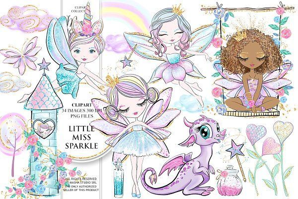 Sparkle fairy. Little miss clipart by