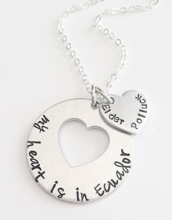 "Personalized ""My heart is in _______"" Missionary Necklace – Hand Stamped LDS Jewelry"