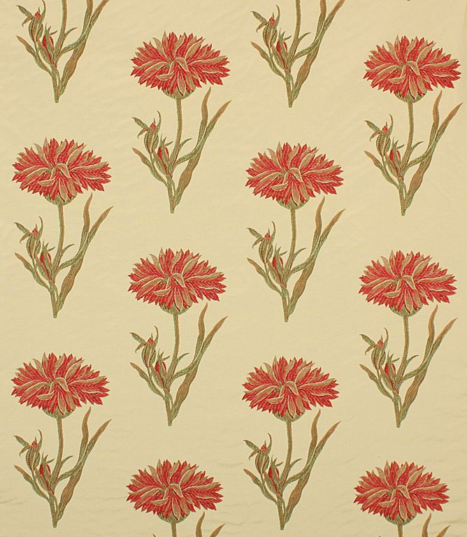 A contemporary floral design with red woven flowers.This stylish fabric is ideal for curtains and is also useful for blinds and cushions. Buy this fabric online or from one of our curtain fabric shops in Burford and Cheltenham.