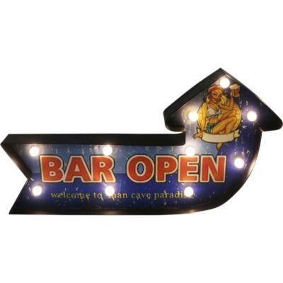 Letrero Led 24x45 cm Bar open