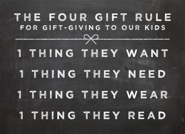 Love this! We're starting this tradition this year. Except we are basing it off of the 3 gifts given to Christ at his birth. Gold=something they want. Frankinsence=Something of religious value Myrrh= Something they'll wear