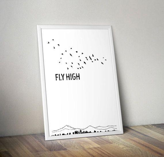 Fly High poster children wall art neutral by OrangeKiteLabs