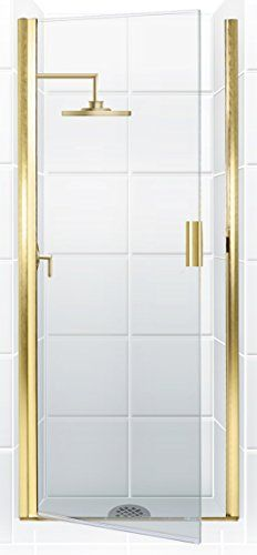 "Coastal Shower Doors Paragon Series Semi-Frameless Continuous Hinge Shower Door In Clear Glass, 22"" x 69"", Gold"