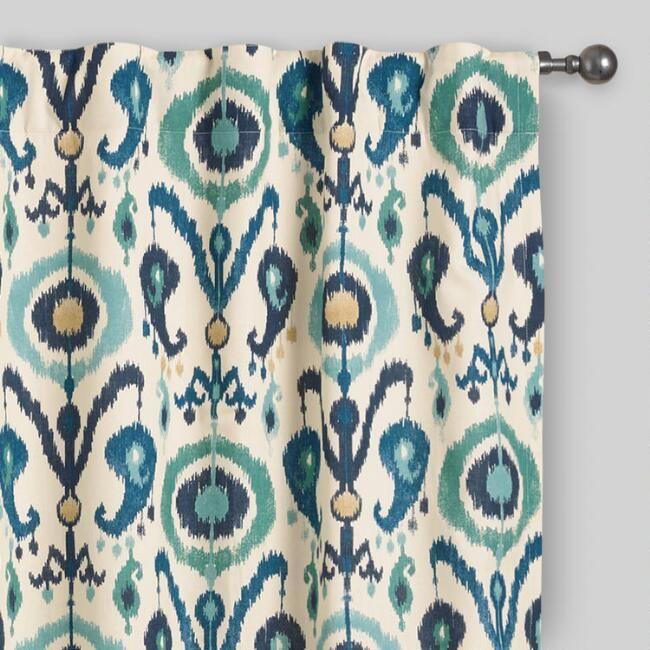 Indigo Ikat Concealed Tab Top Curtains Set of 2   World Market