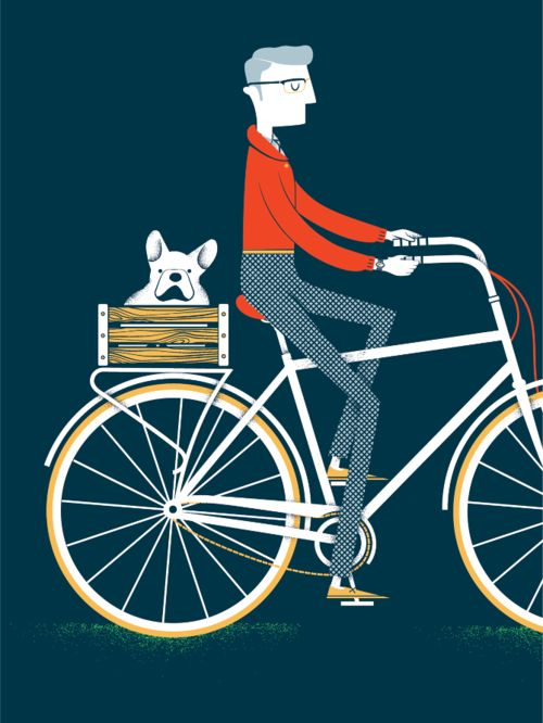 Illustration - man on his bike with dog