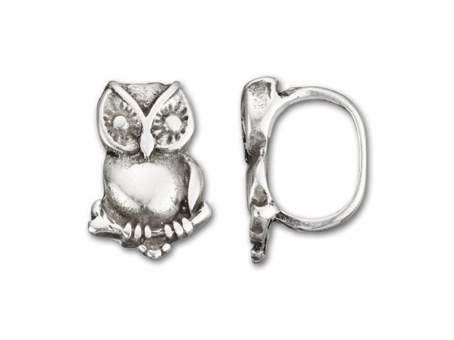 Regaliz Antique Silver-Plated Small Owl Slider Bead