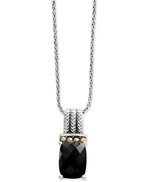 708b246e88a40 Balissima by EFFY® Onyx Pendant Necklace in Sterling Silver and 18k ...