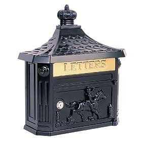 "Victorian Mailbox (Black) by Victorian. $145.00. Mail flap: 10-3/4'' W x 2-1/4'' H. 15-3/4'' W x 20'' H x 5-3/4'' D. Made of cast aluminum, surface mounted Victorian mailboxes are available in seven contemporary colors and include a 10-3/4'' W x 2-1/4'' H brass mail flap with the word ""LETTERS"" engraved into it. Surface mounted Victorian mailboxes include a front access 10-3/4'' W x 6'' H door and a lock with two (2) keys. Surface mounted Victorian mailboxes may ..."
