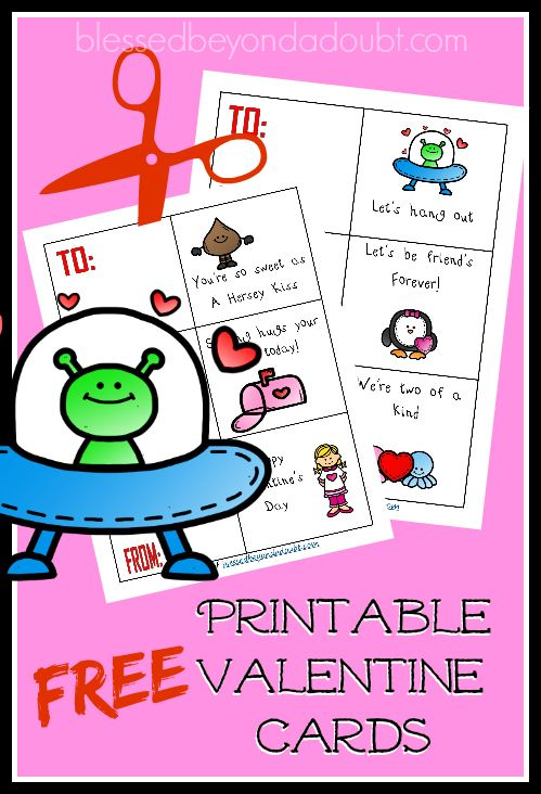 Super cute FREE Printable Valentine Cards! Perfect for all ages!